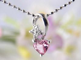 K18WGハート型のピンクトルマリンとダイヤ[0.02ct]がついたネックレス