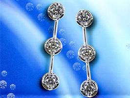 三連スリーストーンダイヤモンドピアスK18WG(18金ホワイトゴールド)0.3カラットトリーノクィーン[TRINO QUEEN」