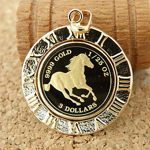 ホースコインペンダント 馬/クイーンエリザベスIIのペンダント24金 [金貨K24/K18 1/25 OZ] 17706【誕生日プレゼント】