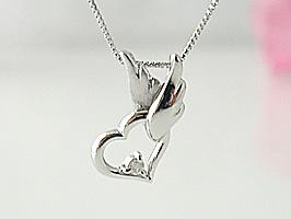 K18WG(ホワイトゴールド)天使がハートを運んでくれるダイヤモンドネックレス