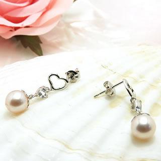 パールとホワイトトパーズ ハートのおしゃれな真珠ピアス y070078