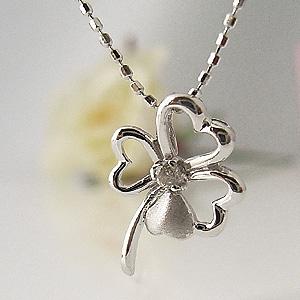 幸せの四葉 クローバーダイヤモンド ホワイトゴールドネックレス y070085