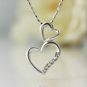 ダブルハートダイヤモンド ホワイトゴールドネックレス y070087