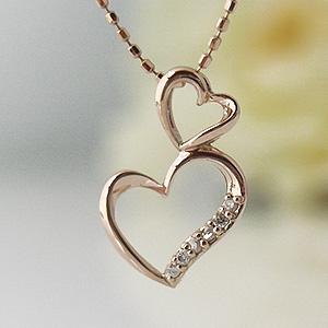 ダブルハートダイヤモンド ピンクゴールドネックレス y070088
