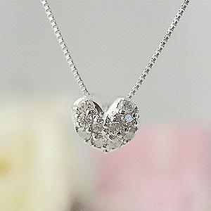 小さくて可愛いハートダイヤモンド K18ホワイトゴールドネックレス y070089