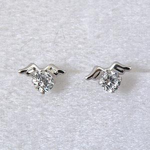 幸せの天使の羽 キュービックジルコニア CZ K14WG(ホワイトゴールド)ピアス【お試し価格】【誕生日プレゼント】y070163