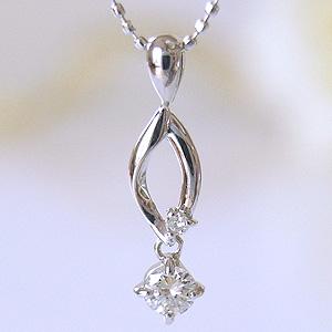 ダイヤモンド 大人のシンプルダイヤモンドネックレス ルビー付ペンダント 4月の誕生石が揺れる [K18WG K18ホワイトゴールド