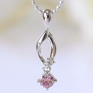 ピンクサファイア 大人のシンプルダイヤモンドネックレス ルビー付ペンダント 9月の誕生石が揺れる [K18WG ]