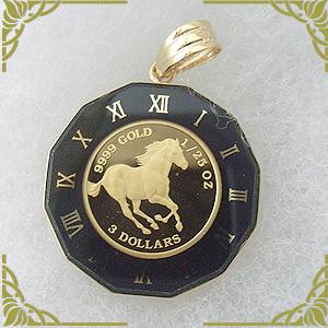 ホース馬/クイーンエリザベスII コインペンダントトップ24金 [K24 1/25 OZ]y080032