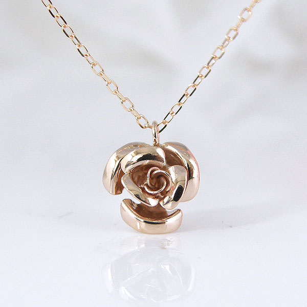 K10ピンクゴールドお花の可愛いデザインネックレス 彼女  誕生日  ジュエリー アクセサリー ∞ y110101