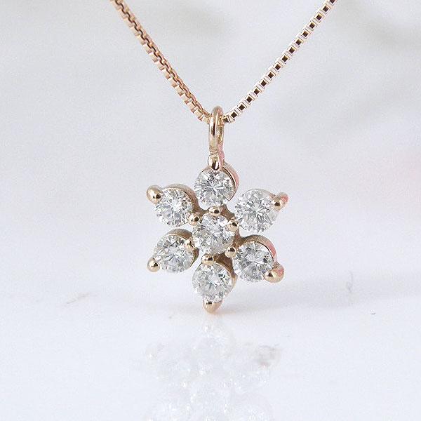 18金ピンクゴールドお花の7石ラッキーダイヤモンドネックレス 彼女  誕生日  ジュエリー アクセサリー ∞ y110102