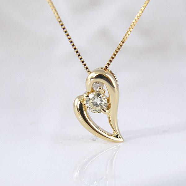 18金ななめハートダイヤモンドネックレス 彼女  誕生日  ジュエリー アクセサリー ∞ y110103