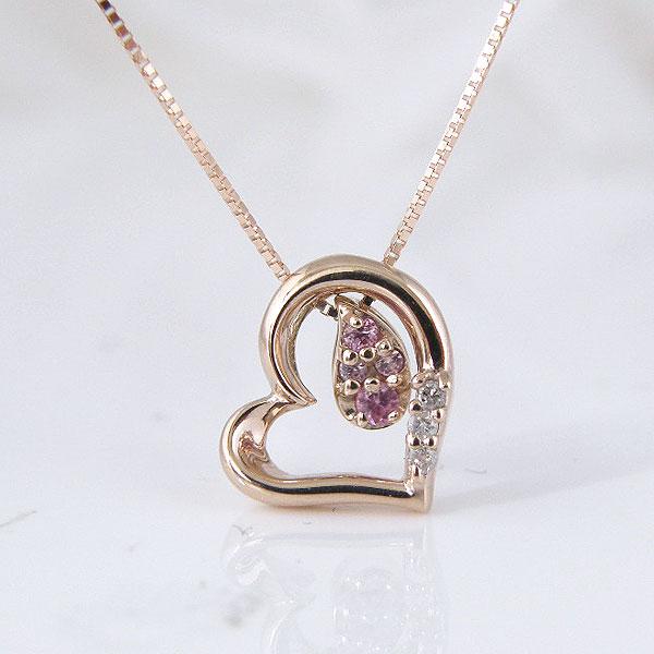 ピンクサファイア ダイヤモンド ハート ペンダント ネックレス10金ピンクゴールド 彼女  誕生日  ジュエリー アクセサリー ∞ y110105