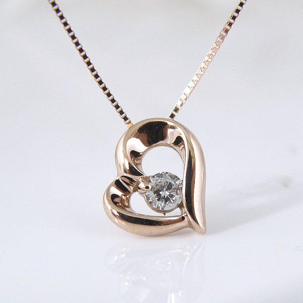 10金ピンクゴールドダイヤモンドネックレス 彼女  誕生日  ジュエリー アクセサリー ∞ y110107