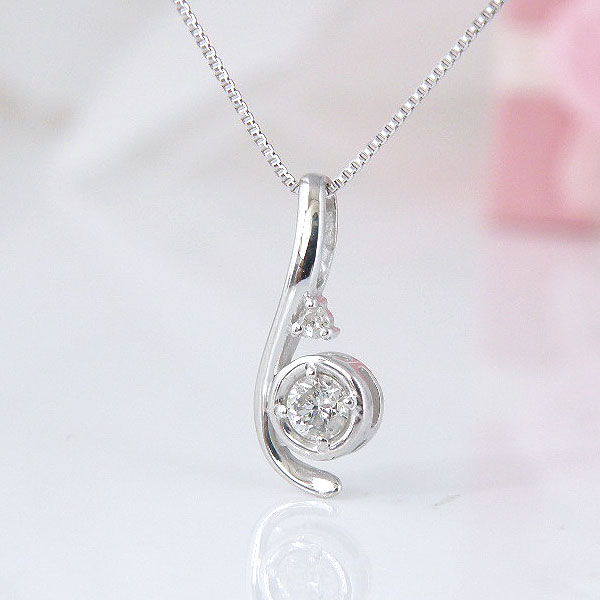 18金ホワイトゴールドダイヤモンドネックレス 彼女  誕生日  ジュエリー アクセサリー ∞ y110108