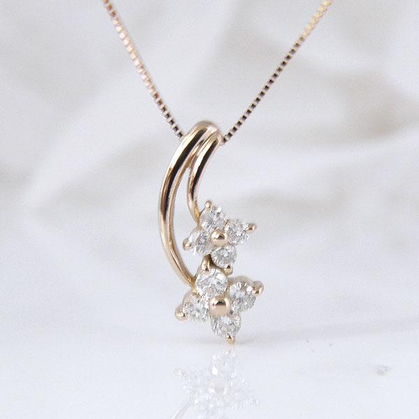 18金ピンクゴールドダブルお花のダイヤモンドネックレス 彼女  誕生日  ジュエリー アクセサリー ∞ y110110