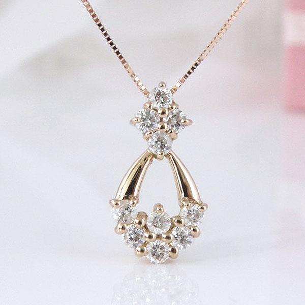 10周年記念ダイヤモンド 18金ピンクゴールドゴージャスなデザインダイヤモンドネックレス 彼女  誕生日  ジュエリー アクセサリー ∞ y110111