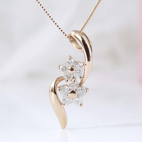 18金ピンクゴールドダブルお花のダイヤモンドステキなネックレス 彼女  誕生日  ジュエリー アクセサリー ∞ y110116