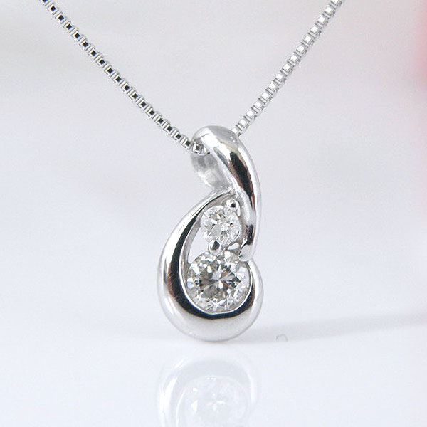 18金ホワイトゴールドツインダイヤモンドネックレス 彼女  誕生日  ジュエリー アクセサリー ∞ y110117