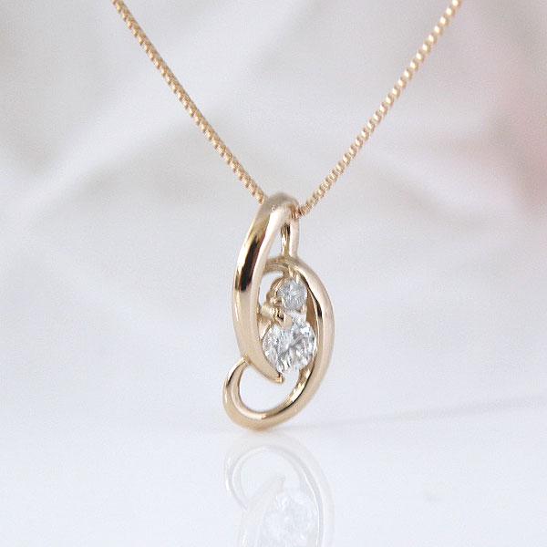18金ピンクゴールドツインダイヤモンドネックレス 彼女  誕生日  ジュエリー アクセサリー ∞ y110118