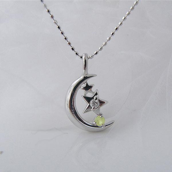 ペリドット(8月誕生石)&ダイヤモンド・月の夜空と北極星(ポラリスネックレス [K18ホワイトゴールド]♪【納期2-3週間】
