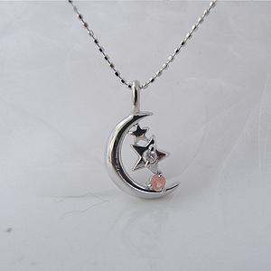 ピンクトルマリン(10月誕生石)&ダイヤモンド・月の夜空と北極星(ポラリスネックレス [K18ホワイトゴールド]♪【納期2-3週間】