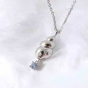 揺れるタンザナイト(12月誕生石) ダイヤモンドネックレス 幸せの貝形シェルペンダントネックレス【納期約1-2週間】