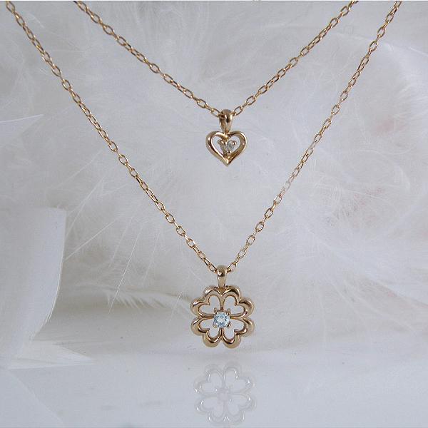 アクアマリン(3月誕生石)&ダイヤモンド 四葉クローバー&ハートのダブルチェーンネックレス K18PG18金ピンクゴールド【納期21日位】
