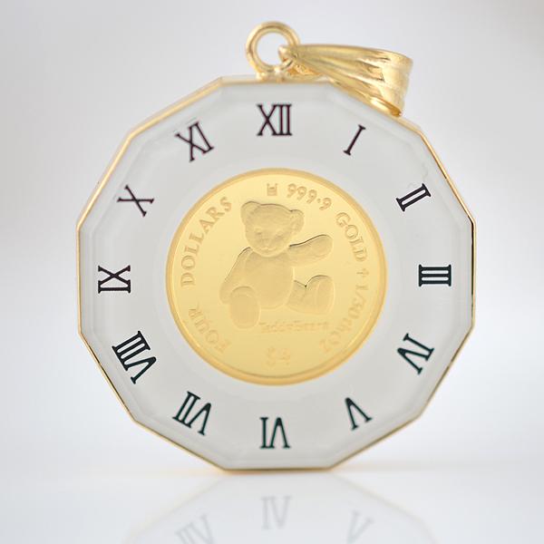 純金金貨TeddyBear&テディベアエリザベスII 1/30オンス テディベア24金コイン18金ペンダント