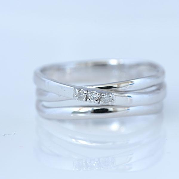 大ぶりピンキーリングダイヤモンド付 ホワイトゴールド 小指指輪 y120050w