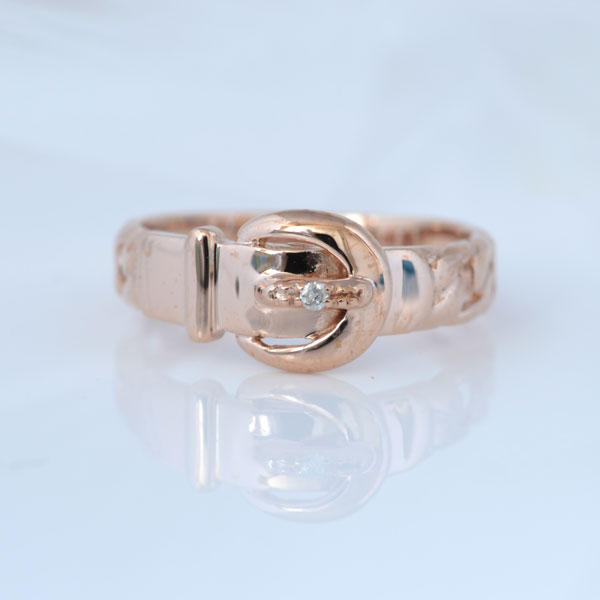 ピンキーリング ベルト形 ダイヤモンド ピンクゴールド 小指指輪 y120051p