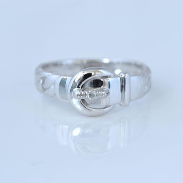ピンキーリング ベルト形 ダイヤモンド ホワイトゴールド 小指指輪y120051w