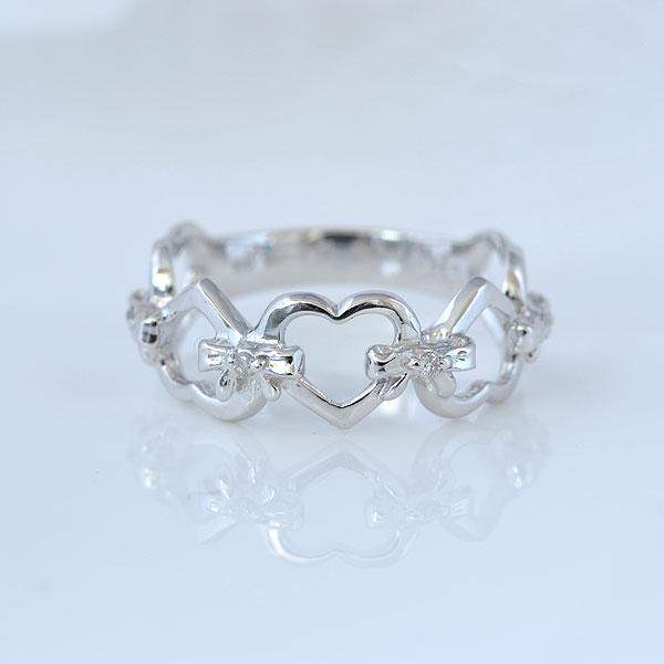 ピンキーリング ハート&heart ダイヤモンド ホワイトゴールド 小指指輪 y120053w