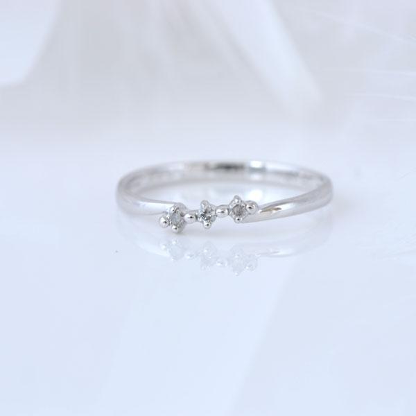 ピンキーリング スリーストーンダイヤモンド ホワイトゴールド 小指指輪 y120055w