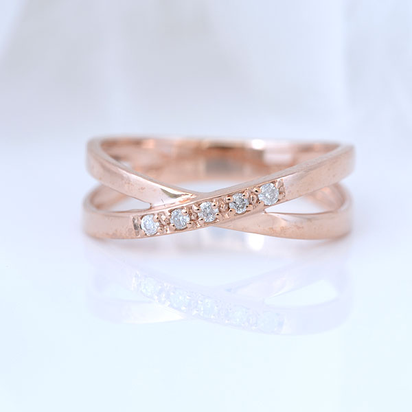 ピンキーリング ななめダイヤモンド ピンクゴールド 小指指輪 y120056p