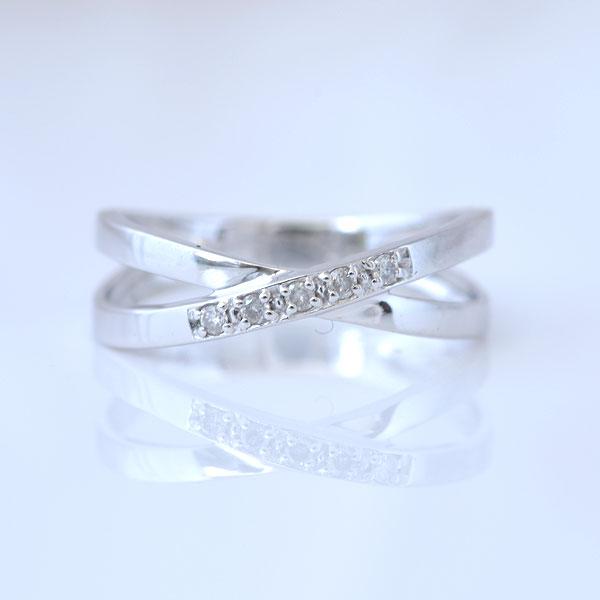 ピンキーリング ななめダイヤモンド ホワイトゴールド 小指指輪 y120056w