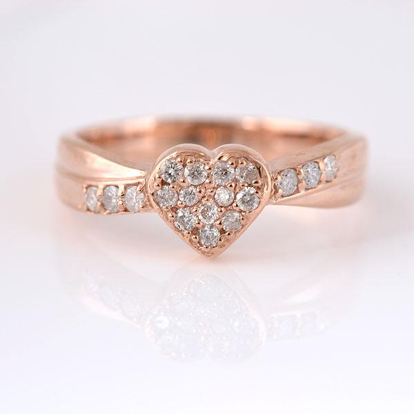 ピンキーリング ハート形 ダイヤモンド ピンクゴールド 小指指輪 y120057p