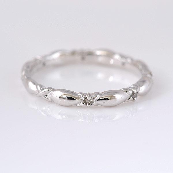 ピンキーリング 細めのデザイン ダイヤモンド ホワイトゴールド 小指指輪 y120058w