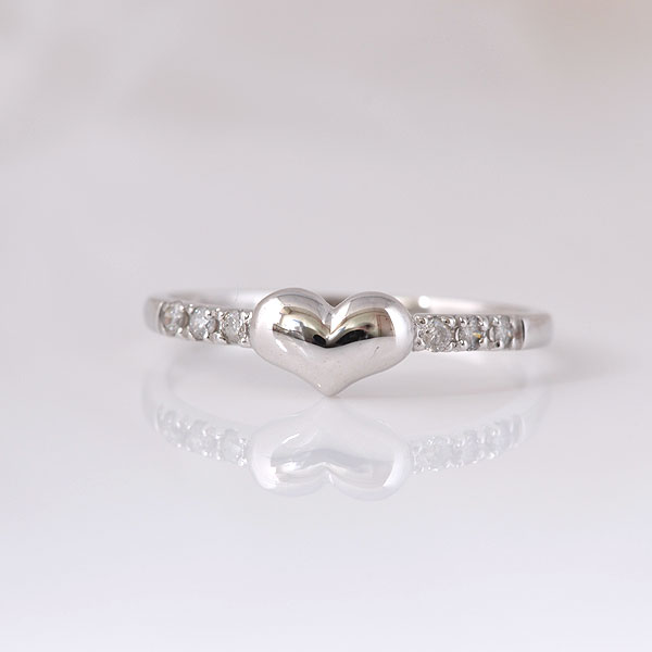 ピンキーリング ハートダイヤモンド ホワイトゴールド 小指指輪 y120059w