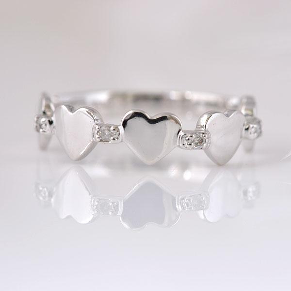 ピンキーリング ハート&ハート ダイヤモンド ホワイトゴールド 小指指輪 y120060w