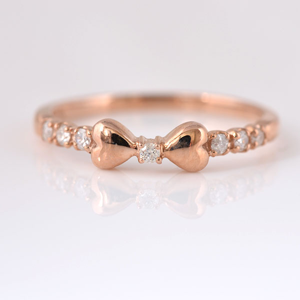 ピンキーリング リボン ダイヤモンド ピンクゴールド 小指指輪 y120061p