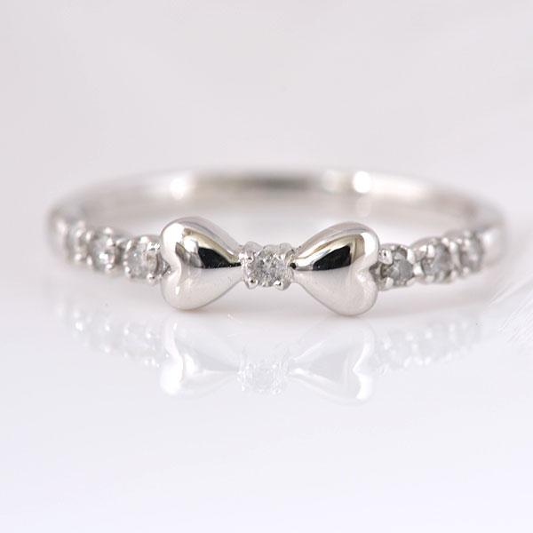 ピンキーリング リボン ダイヤモンド ホワイトゴールド 小指指輪 y120061w