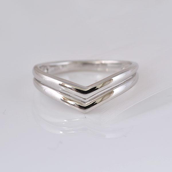 ピンキーリング やさしいV形 ホワイトゴールド 小指指輪 y120062w