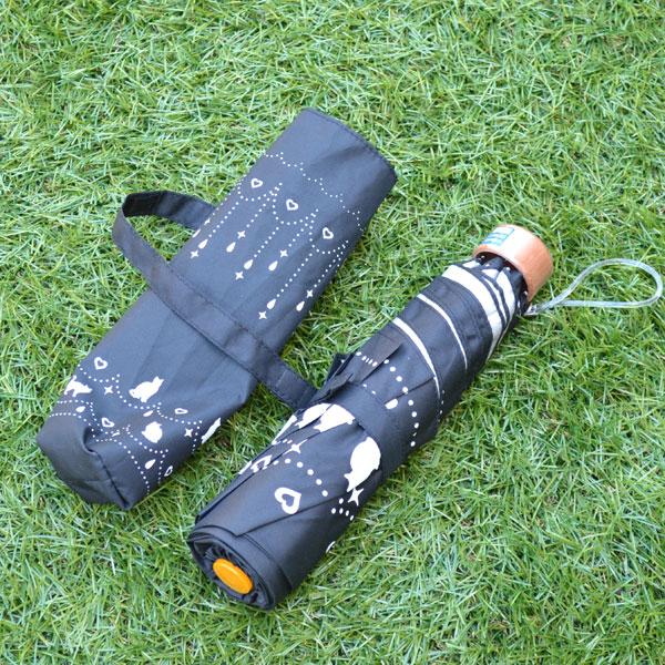 日傘 UVカット 遮光率99.5%以上 ネコちゃん 晴雨兼用 軽量 折りたたみ傘 猫&ハート(オーガンジーポーチ付)