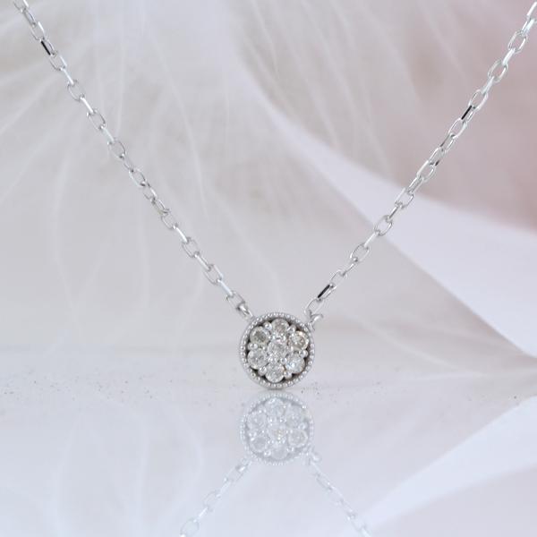 シンプル プチ ダイヤモンドネックレス  K18ホワイトゴールド
