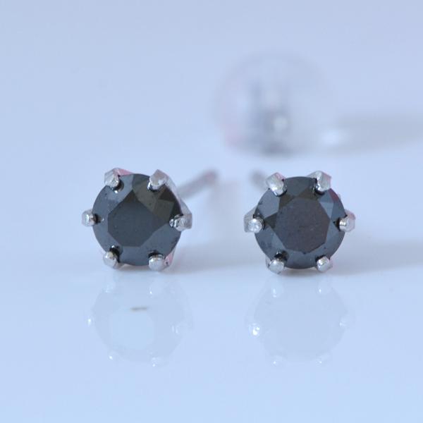 プラチナ ブラックダイヤモンド 0.5ct  シンプルピアス