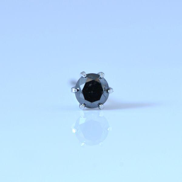 片耳用 プラチナ ブラックダイヤモンド 0.1ct シンプルピアス 1本単位での販売 彼女  誕生日  ジュエリー アクセサリー ∞ y130119