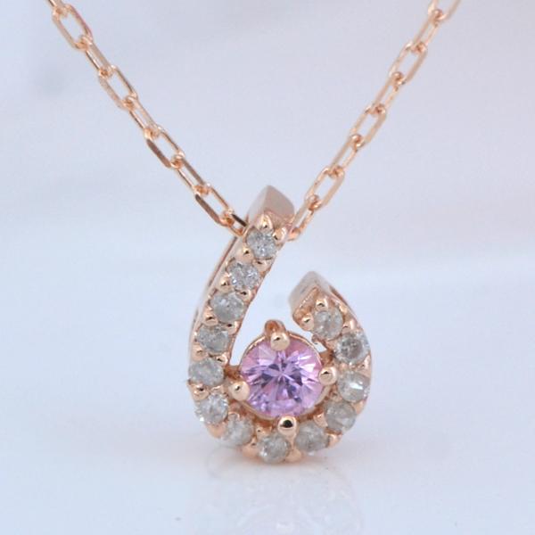 K10PG  ピンクサファイア プチダイヤモンド ネックレス