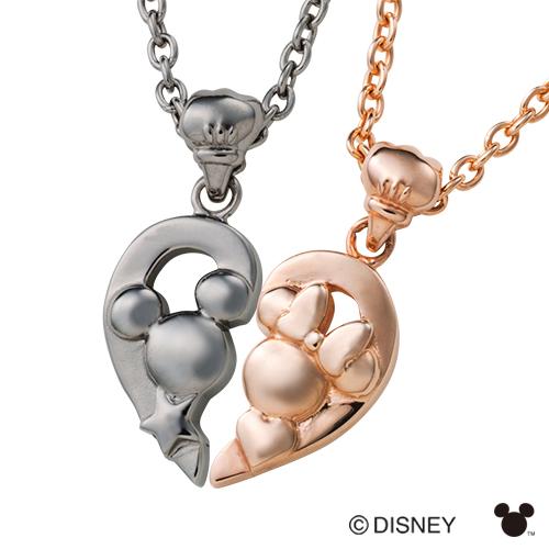 【white clover/Disney Series】ディズニー/ミッキー&ミニー/ピンク&ブラックシェアハートペアネックレス&オリジナルBOX DI001LPG&DI001MBK