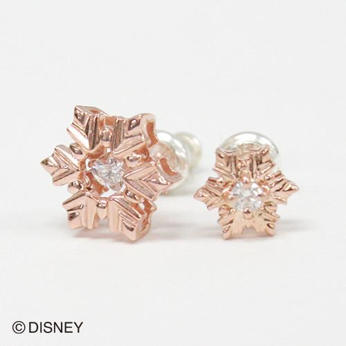【white clover/Disney Series】ディズニー/アナと雪の女王/FROZEN/雪の結晶/スノーフレークピアス2個set/ピンク&オルゴール付きジュエリーBOX DI302PG